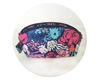 Large Cosmetic Pouch. Makeup Pouch. Cute Pink and Blue Floral Print Pouch. Zippered Pouch.