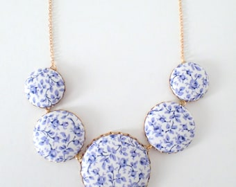 Colorful Liberty Of London Fabric Covered Button Necklace Statement Necklace Retro Style Necklace Vintage Style Necklace