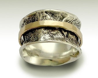 Spinner ring, silver meditation band, Wedding band, sterling silver ring, mens band, unisex band, silver  gold ring - My Devotion R1076D