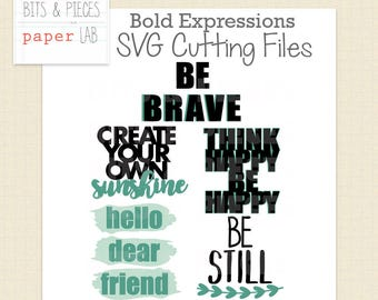 SVG Cutting Files: Bold Expressions Card Sentiments, Card SVG, Scrapbook Title SVG