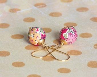 Boucles d'oreilles Liberty, Boucles d'oreilles textile,Bijoux Liberty,Boucles d'oreilles rouge,Petites boucles d'oreilles,Bijoux d'été