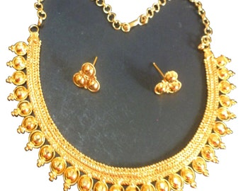 22K Gold Plated Indian Bollywood Necklace Earrings Party Fashion Wedding Set