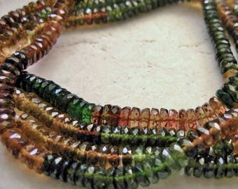Petro Tourmaline Gemstone Faceted Rondelle Beads 4.5mm - Half Strand 7.75 inches