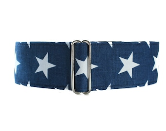 Blue Martingale Dog Collar, Greyhound Martingale Collar, Large Dog Collar, 2 inch Martingale Collar, Blue Dog Collar, Stars Dog Collar