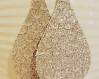 Silver Fish scale Leather Earrings/Arrabella