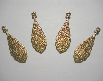 Floral Embosed Antiqued Brass Victorian Earring Drops Findings Stampings - 4