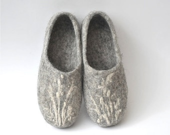 SPRING SALE Handmade eco friendly felted slippers from natural wool - grey