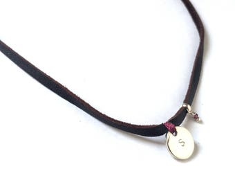 Personalized Leather and Silver Necklace Choker