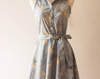 bon voyage dress world map dress shirt dress vintage inspired cotton dress holiday vintage party dress