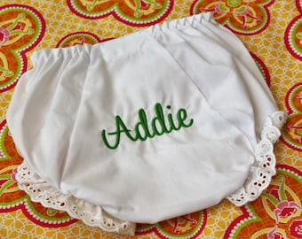 Lace Trim Personalized Baby Toddler Bloomers