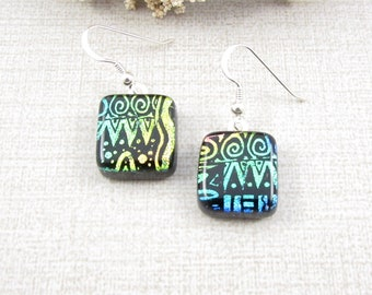 Dichroic Glass Earrings - Blue, Green and Black Fused Dichroic Glass Drop Earrings with Sterling Silver Ear Wire - Dichroic Glass Earrings