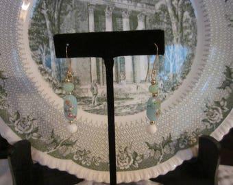 Vintage Repurposed Matte Floral Glass Bead Pierced Earrings