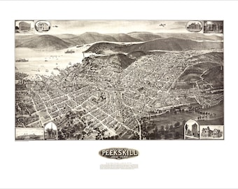 """Peekskill New York in 1911 Panoramic Bird's Eye View Map by Fowler & Hughes 22x17"""" Reproduction"""
