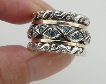New 9K Yellow Gold and 925 Silver Swivel band, King Ring, Wedding band,blue topaz zircon, Wedding Gift, size 6.5  (sn 3542r