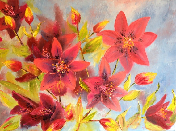 Summer Lilies, Summer Flowers Art Painting, Flower Art, Red Lilies Floral Art,