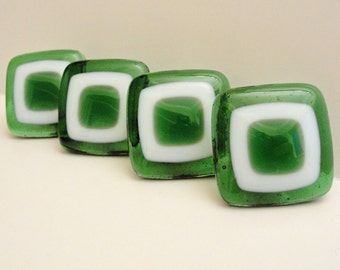 Fused Glass Drawer Knob Cabinet Knobs, Green and White Glass Pulls, Bathroom Vanity Knobs, Furniture Drawer Knobs, Cupboard Door Knobs