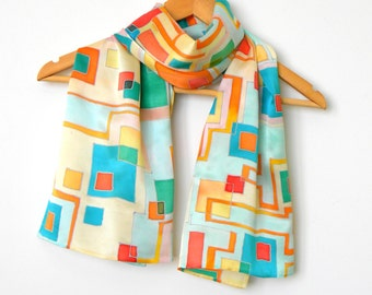 Hand painted silk scarf Handpainted silk shawl Silk scarves Silk painting Batik Womens scarves Geometrical scarf Gift for her Daughter gift