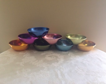 Anodized Aluminum Bowls by Bascal - Set of 8 - Variety of Colors - Vintage Kitchen Bowls