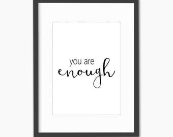 you are enough wall art, inspirational her, motivational wall decor, inspirational signs, feminist art, dorm decor, dorm wall art, dorm room