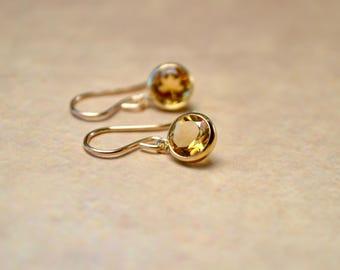 Citrine Earrings, Gemstone Earrings, Gold Fill Earrings, Citrine Jewelry, Tiny Gold Earrings, November Birthstone, Mum Day Gift, Wife Gift