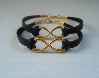Best Friend Bracelets, Matching Bracelets, BFF Gifts, Gold Infinity Bracelet, Black, Valentine Gifts, Sister, Mother, Daughter Gifts