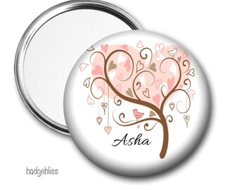 Pink Tree personalised pocket mirror