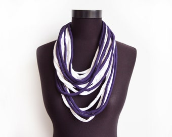 SALE! White purple necklace neck ornament loop scarf infinity scarf round scarf plum OOAK violet