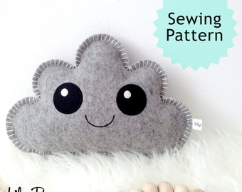Cloud Pillow, Sewing Pattern, PDF Pattern, kawaii softie pattern, baby gift, DIY baby shower gift, digital download, easy sewing pattern