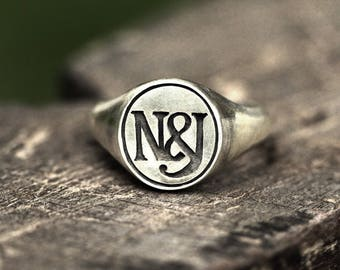 Custom Carved Mens Sterling Silver Initials Signet Ring, Personalised Mens Wedding Band, Mens Ring, Mens Custom Ring, Initials Ring, Rings4