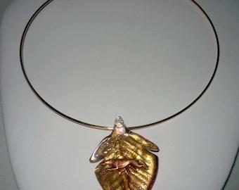 Artglass Gold Leaf Pendant w Copper Running Greyhound Dog and Goldtone Neckring GP