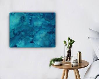Watercolor Ocean Painting Abstract Canvas Print - Aqua Teal Blue Sea Coastal Beach Giclee Art Print - 8x10/11x14/12x16/16x20 - Lagoon