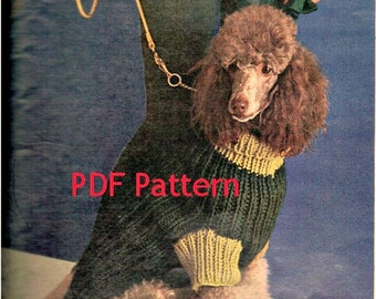 Dog Sweater Knitting Pattern, Turtleneck Dog Sweater with Sleeves, Vintage 1960's in 3 sizes Sm, Med, Lg, PDF Instant, Digital Download