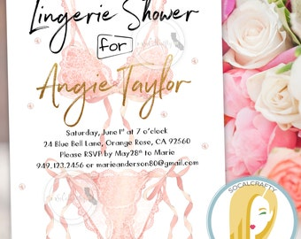 Watercolor Bachelorette Party Invitation, Lingerie Shower Invite, Bridal Shower, Gold Foil, Pink Black White, Printed or Printable Invites