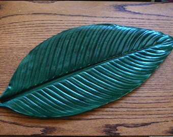 """Spathiphyllum (Peace Lily) 21"""" Cement/Concrete Leaf Casting - Wall Hanging or Table Centerpiece"""