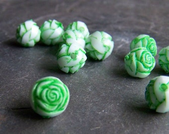 Vintage Lucite White and Green Washed Rosebuds-20 Beads