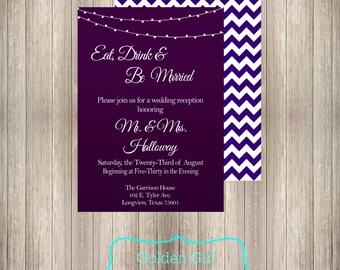 Chevron Wedding Reception Invitation with Lights, reception only invitation, wedding reception-Printed or Digital File