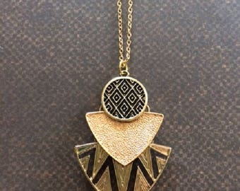 Aztec Necklace - Aztec Jewelry - Aztec Pendant - Layered Necklace - Layered Gold Necklace - Gold Layered Necklace - Statement Necklace Gold
