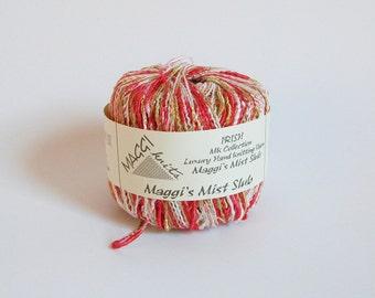 Coral Red Gold White Yarn Maggi Knits Yarn Maggis Mist Slub