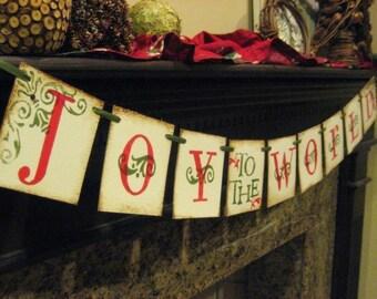 Christmas Banner JOY to the WORLD Garland Decoration