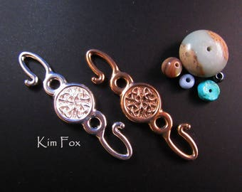Celtic Hook in Bronze and Silver designed by Kim Fox Use with chain, cord or wire to connect pieces, two sided