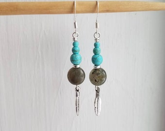 Turquoise and Labradorite Earrings
