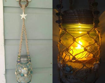 Hanging Beach Lantern with Vintage (1923-1933) Pint-Sized Blue Ball Perfect Mason Jar. Nautical Decor & Wedding Decor.