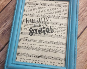 Our Great Savior, Hallelujah What A Savior, Framed Hymn Page, Home Decor, Church Music, 084.1