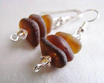 Sea Glass Earrings - Amber Stacked Seaglass Earrings - Beach Glass Jewelry - Dangle Earrings - Genuine Authentic Ocean Jewelry Gifts