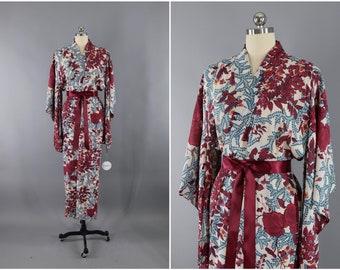 Vintage Silk Kimono Robe / Vintage Dressing Gown / Vintage Lingerie Robe / Loungewear / Ro Silk / 1930s Cranberry Red Floral Print