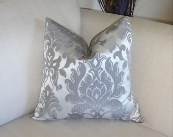 Silver Grey Charcoal Damask Sateen Pillow Cover Home Decor by HomeLiving Throw Pillow Cover 18x18