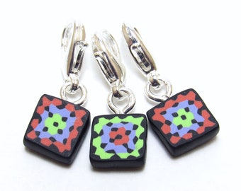 Crochet Stitch Marker Set, Granny Square, Progress Keepers, Green Purple Orange, Polymer Clay Cane, Handmade Supply, Crocheter Gift