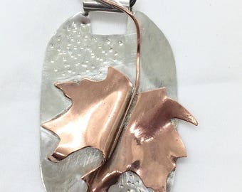Copper Maple Leaf on Sterling Silver Pendant