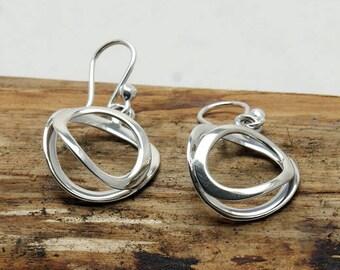 Sterling Silver Shaped Oval on Oval Earrings  (E605)