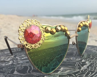 SAGE Green & Gold Reflective FeSTiVAL HEART Sunglasses Eyewear Sunnies / Hippie Boho Gypsy Festival EDC Coachella Bonnaroo Glasses / New